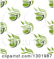 Poster, Art Print Of Seamless Background Pattern Of Green Tea Cups And Leaves
