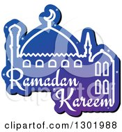 Clipart Of A Blue Mosque With Shining Stars And Ramadan Kareem For Muslim Holy Month Royalty Free Vector Illustration