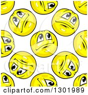 Seamless Pattern Background Of Hopeful Yellow Emoticon Smileys