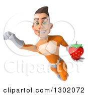 Clipart Of A 3d Young Brunette White Male Super Hero In An Orange Suit Flying With A Strawberry Royalty Free Illustration