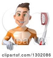 Clipart Of A 3d Young Brunette White Male Super Hero In An Orange Suit Holding A Giant Toothbrush Over A Sign Royalty Free Illustration
