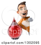 Clipart Of A 3d Young Brunette White Male Super Hero In An Orange Suit Holding A Blood Drop Around A Sign Royalty Free Illustration