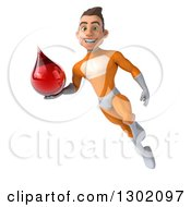 Clipart Of A 3d Young Brunette White Male Super Hero In An Orange Suit Flying And Holding A Blood Drop Royalty Free Illustration