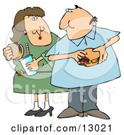 Chubby Couple Eating Cheeseburgers Together Clipart Illustration