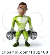 Clipart Of A 3d Young Black Male Super Hero In A Green Suit Working Out Doing Squats With Dumbbells Royalty Free Illustration