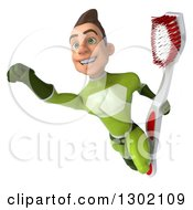 Clipart Of A 3d Young Brunette White Male Super Hero Dentist In A Green Suit Flying With A Giant Toothbrush Royalty Free Illustration