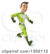 Clipart Of A 3d Young Brunette White Male Super Hero In A Green Suit Speed Walking To The Right Royalty Free Illustration