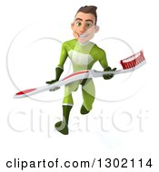 Clipart Of A 3d Young Brunette White Male Super Hero Dentist In A Green Suit Sprinting With A Giant Toothbrush Royalty Free Illustration