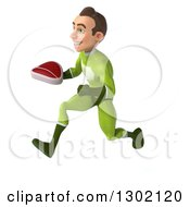 Clipart Of A 3d Young Brunette White Male Super Hero In A Green Suit Sprinting To The Left With A Beef Steak Royalty Free Illustration