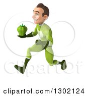 Clipart Of A 3d Young Brunette White Male Super Hero In A Green Suit Sprinting To The Left With A Green Bell Pepper Royalty Free Illustration