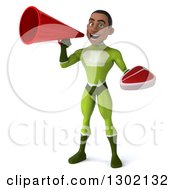 Clipart Of A 3d Young Brunette White Male Super Hero In A Green Suit Holding A Beef Steak And Announcing With A Megaphone Royalty Free Illustration