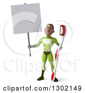 Clipart Of A 3d Young Black Male Dentist Super Hero In A Green Suit Holding A Giant Toothbrush And Blank Sign Royalty Free Illustration