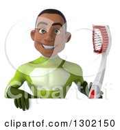 Clipart Of A 3d Young Black Male Dentist Super Hero In A Green Suit Holding A Giant Toothbrush Over A Sign Royalty Free Illustration