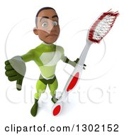 Clipart Of A 3d Young Black Male Dentist Super Hero In A Green Suit Holding Up A Giant Toothbrush And A Thumb Down Royalty Free Illustration