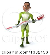 Clipart Of A 3d Young Black Male Dentist Super Hero In A Green Suit Walking And Holding A Giant Toothbrush Royalty Free Illustration