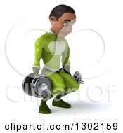 Clipart Of A 3d Young Black Male Super Hero In A Green Suit Facing Slightly Right Working Out Doing Squats With Dumbbells Royalty Free Illustration