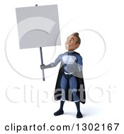 Clipart Of A 3d Young Indian Male Super Hero Dark Blue Suit Holding Up And Pointing To A Blank Sign Royalty Free Illustration