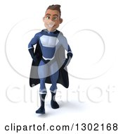 Clipart Of A 3d Young Indian Male Super Hero Dark Blue Suit Walking Royalty Free Illustration