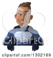 Clipart Of A 3d Young Indian Male Super Hero Dark Blue Suit Smiling Over A Sign Royalty Free Illustration