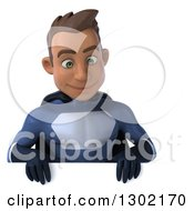 Clipart Of A 3d Young Indian Male Super Hero Dark Blue Suit Smiling Down Over A Sign Royalty Free Illustration