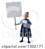Clipart Of A 3d Young Indian Male Super Hero Dark Blue Suit Holding Up A Blank Sign Royalty Free Illustration