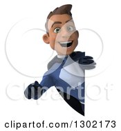 Clipart Of A 3d Young Indian Male Super Hero Dark Blue Suit Pointing Outwards Around A Sign Royalty Free Illustration by Julos