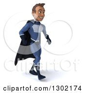 Clipart Of A 3d Young Indian Male Super Hero Dark Blue Suit Walking Slightly Right Royalty Free Illustration by Julos