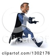 Clipart Of A 3d Young Indian Male Super Hero Dark Blue Suit Walking And Pointing To The Right Royalty Free Illustration by Julos