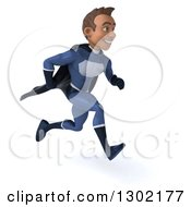 Clipart Of A 3d Young Indian Male Super Hero Dark Blue Suit Sprinting To The Right Royalty Free Illustration by Julos