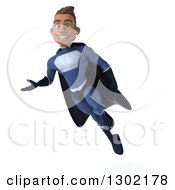 Clipart Of A 3d Young Indian Male Super Hero Dark Blue Suit Flying And Presenting To The Left Royalty Free Illustration by Julos