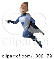 Clipart Of A 3d Young Indian Male Super Hero Dark Blue Suit Flying And Pointing To The Left Royalty Free Illustration by Julos