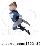 Clipart Of A 3d Young Indian Male Super Hero Dark Blue Suit Flying Up To The Left Royalty Free Illustration by Julos