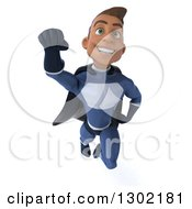Clipart Of A 3d Young Indian Male Super Hero Dark Blue Suit Flying And Smiling Royalty Free Illustration by Julos