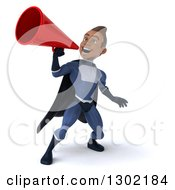 Clipart Of A 3d Young Indian Male Super Hero Dark Blue Suit Announcing With A Megaphone Royalty Free Illustration by Julos