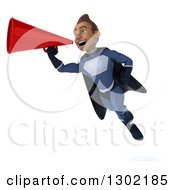Clipart Of A 3d Young Indian Male Super Hero Dark Blue Suit Flying And Announcing With A Megaphone Royalty Free Illustration by Julos