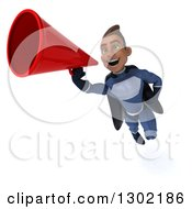 Clipart Of A 3d Young Indian Male Super Hero Dark Blue Suit Flying And Announcing With A Megaphone 2 Royalty Free Illustration by Julos