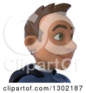 Clipart Of A 3d Young Indian Male Super Hero Dark Blue Suit From The Shoulders Up Facing Right 2 Royalty Free Illustration by Julos