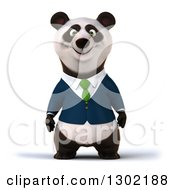 Clipart Of A 3d Happy Business Panda Royalty Free Vector Illustration