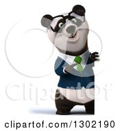 Clipart Of A 3d Bespectacled Business Panda Pointing Around A Sign Royalty Free Vector Illustration
