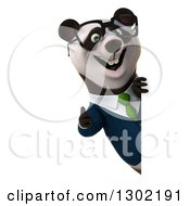 Clipart Of A 3d Bespectacled Business Panda Giving A Thumb Up Around A Sign Royalty Free Vector Illustration