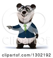 Clipart Of A 3d Bespectacled Business Panda Pointing Left Royalty Free Vector Illustration