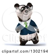 Clipart Of A 3d Bespectacled Business Panda Walking Royalty Free Vector Illustration
