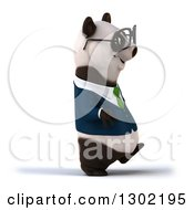 Clipart Of A 3d Bespectacled Business Panda Walking To The Right Royalty Free Vector Illustration