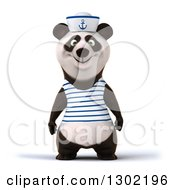 Clipart Of A 3d Happy Sailor Panda Royalty Free Vector Illustration