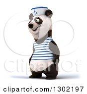 Clipart Of A 3d Happy Sailor Panda Facing Slightly Left Royalty Free Vector Illustration by Julos
