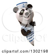 Clipart Of A 3d Happy Sailor Panda Pointing Around A Sign Royalty Free Vector Illustration