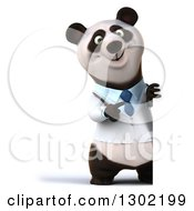 Clipart Of A 3d Full Length Doctor Or Veterinarian Panda Pointing Around A Sign Royalty Free Vector Illustration