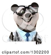 Clipart Of A 3d Bespectacled Doctor Or Veterinarian Panda Giving A Thumb Up Over A Sign Royalty Free Vector Illustration
