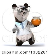Clipart Of A 3d Bespectacled Doctor Or Veterinarian Panda Walking With A Honey Jar Royalty Free Vector Illustration