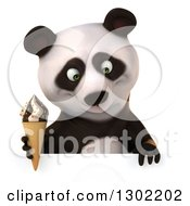 Clipart Of A 3d Panda Holding A Waffle Cone And Looking Down Over A Sign Royalty Free Vector Illustration
